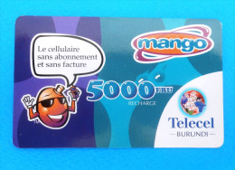 MANGO 5000 FBU ( Burundi - Telecel Prepaid Card ) GSM Remote Prepayee Carte