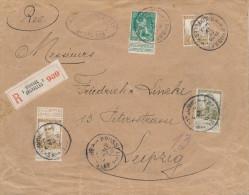 891/22 - Lettre RECOMMANDEE BRUXELLES 1913 vers LEIPZIG - RARE Quadruple Port TARIF 95 c