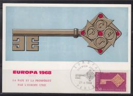 Carte Postale 1er Jour Europa 1968 La Paix Et La Prospérité Par L'Europe Unie Paris Le 27 Avril 1968 N°1556 - Maximum Cards