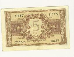 CARTAMONETA - 5 LIRE - ATENA ELMATA - DECR. 23 - 11 - 1944  - BS. 14C GIGANTE #0587 - 216774 - SUP - [ 1] …-1946 : Regno