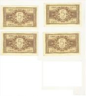 5 LIRE - 5 ESEMPLARI CONSECUTIVI - ATENA ELMATA - DECR. 23 - 11 - 1944  - BS. 14C GIGANTE #0587 216769/73 SUP - [ 1] …-1946 : Regno