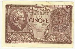 CARTAMONETA - 5 LIRE - ATENA ELMATA - DECR. 23 - 11 - 1944  - BS. 14C GIGANTE #0658 964765 Q/SUP - [ 1] …-1946 : Regno