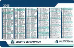 CAL130 - CALENDARIETTO 2003 - BANCO POPOLARE - CREDITO BERGAMASCO - Calendarios
