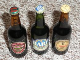 Rare Lot 3 Mignonnettes De Bière Bouteilles En Verre Miniature Pleines, GUINNESS HARP Murphy´s - Miniatures