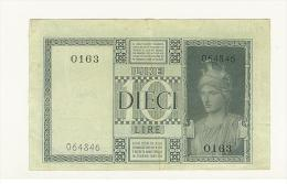 Cartamoneta - 10 Lire -  Decr 1935 XIII  BS 18 A Rif. Cat GIGANTE - SERIE 0163 - #064846 - STAMPA DEL VERSO SPOSTATA - [ 1] …-1946 : Koninkrijk