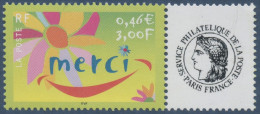 "FRANCE 2001 TIMBRE PERSONNALISE N°3433 ** Merci, Avec Logo ""Ceres"", TB, MNH"