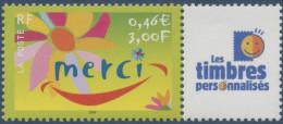 "FRANCE 2001 TIMBRE PERSONNALISE N°3433 ** Merci,  Avec Logo ""Les Timbres Personnalisés"", TB, MNH"