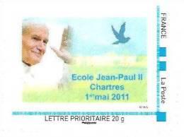 """(L137) Chartres : école Jean Paul II T. """"Montimbreàmoi"""" Issu De Feuille (cadre Bleu) (2011) - Personnalisés (MonTimbraMoi)"""