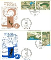 GERMANY Complete Set Ouf Of The Block On Two Covers With First Day Cancel Bonn 1 - Summer 1972: Munich