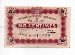 Billet Chambre De Commerce De Nancy - 25 Cts - Petit N - Sans Filigrane - Chambre De Commerce