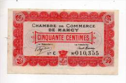 Billet Chambre De Commerce De Nancy - 50 Cts - Série C - Sans Filigrane - Remboursable Jusqu'au 9 Septembre 1915 - Chambre De Commerce