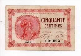 Billet Chambre De Commerce De Paris - 50 Cts - 10 Mars 1920 - Série E - Sans Filigrane - Chambre De Commerce