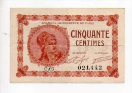 Billet Chambre De Commerce De Paris - 50 Cts - 10 Mars 1920 - Série G - Sans Filigrane - Chamber Of Commerce