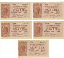 1 LIRA - ITALIA LAUREATA - NUM. CONSECUTIVA - DECR. 23 - 11 - 1944 - FDS - [ 1] …-1946 : Regno