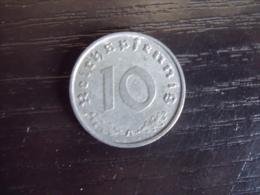 UNE PIECE  DE MONNAIE  D ALLEMAGNE III eme REICH  DE 10 REICHSPFENNIG  1941 A