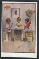 Très Jolie Illustration Signée Gilson. 3 Petits Noirs Jouent Aux Cartes Et Trichent!  (Voir Détails, 2 Scans) - Cartes à Jouer