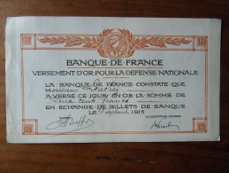 RECU DE VERSEMENT D�OR pour la d�fense nationale - 8 septembre 1915
