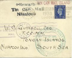 REINO UNIDO 1938 CC A TONGA TIN CAN MAIL CORREO POR LATA RARO CORREO ENTRANTE DIVERSAS MARCAS - Altri (Mare)