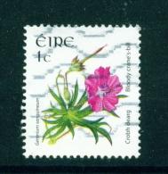 IRELAND  -  2004  Wild Flower Definitives  Bloody Crane's-bill  1c  Used As Scan - 1949-... Republic Of Ireland