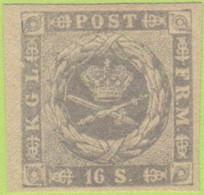 """DEN SC #6 MH  1857 Royal Emblems (""""Dotted Spandrels"""") W/cert """"excellent Example"""", CV $525.00 - 1851-63 (Frederik VII)"""