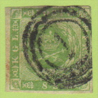 "DEN SC #5a  1857 Royal Emblems, ""1"" (Kjobenhavn) In Conc. Circs., CV $80.00 - 1851-63 (Frederik VII)"