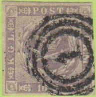 "DEN SC #6  1857 Royal Emblems, 4 Margins, ""1"" (Kjobenhavn) In Conc. Circs., CV $190.00 - 1851-63 (Frederik VII)"