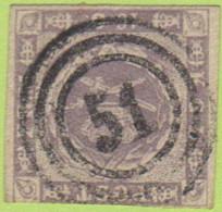 "DEN SC #6  1857 Royal Emblems, 3+ Margins, ""51"" (Odense) In Conc. Circs., CV $190.00 - 1851-63 (Frederik VII)"