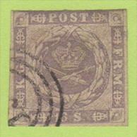 DEN SC #6  1857 Royal Emblems, 3+ Margins, CV $190.00 - 1851-63 (Frederik VII)