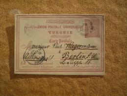 Carte Postale Entier Postal Pour Berlin Turquie Oblitération Constantinople - 1858-1921 Empire Ottoman