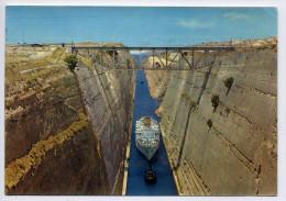 Grèce--CORINTHE---1962--Le Canal (bateau Et Remorqueur)--- Cpsm 15 X 10-- Timbre Au Dos - Grecia