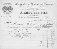Manufacture De Brosserie Et De Plumeaux A.Cheville Et Fils Paris Facture Du 4/05/1899 Très Bon Etat - Droguerie & Parfumerie