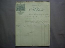 MEYMAC CHATEAU DE LAGADIE A. CHASTRE VINS FINS DE LA GIRONDE FACTURE DU 4 9bre 1895 - 1800 – 1899