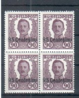 KuK �sterreich Feldpost - Italien Mi XIII Viererblock 1918