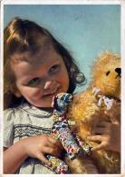 Kleines Mädchen Mit Teddybär Karte Gel.1947 - Kinder
