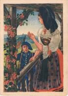 EN ALSACE - Le Chasseur (saluant Une Femme En Tenue Traditionnelle) - Aquarelle P. WELCOMME - Circulé 1948, 2 Scans - Alsace