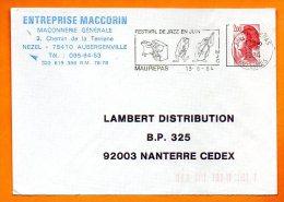 78 MAUREPAS   FESTIVAL DE JAZZ     13 / 8  / 1984  Lettre Entière N°  V 380 - Mechanische Stempels (reclame)