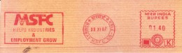 INDIA 1987 SINGLE ADVERTISEMENT METER FRANKING FROM BOMBAY, ON PIECE - MSFC, HELPS INDUSTRIES & EMPLOYMENT GROW - India