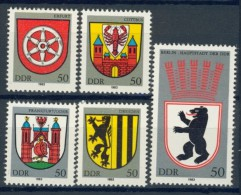 BL3-485 DDR, EAST GERMANY 1983 MI 2817-2821 WAPPEN, COTE OF ARMS, ARMOIRES. MNH, POSTFRIS, NEUF** - Postzegels