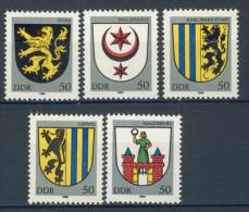 BL3-495 DDR, EAST GERMANY 1984 MI 2857-2861 WAPPEN, COTE OF ARMS, ARMOIRES. MNH, POSTFRIS, NEUF** - Postzegels
