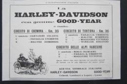 ADVERTISING PUBBLICITA� MOTO MOTOCICLETTA MOTORCYCLE HARLEY DAVIDSON SIDECARS 1923 TORTONA CREMONA