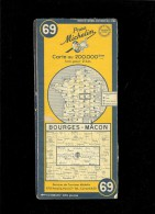 Carte Routière BOURGES MACON N° 69 Michelin  Jaune 1951 - Carte Stradali