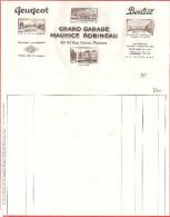 FACTURE VIERGE-GRAND GARAGE MAURICE ROBINEAU POITIERS  PEUGEOT BERLIET - 1900 – 1949