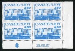"""Bloc De 4 Timbres** De 1987  """"3,60 - Conseil De L´Europe"""" Avec Date 28.08.87 - Coins Datés"""