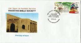 PAKISTAN MNH 2013 FDC FIRST DAY COVER 150 YEARS OF FAITHFUL SERVICE PAKISTAN BIBLE SOCIETY - Pakistan