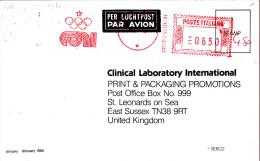 Italie - Carte Postale De 1986 - EMA - Empreintes Machines - Oblitération Roma - Anneaux Olympiques  ?? - Machine Stamps (ATM)