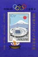 Sommerolympiade Tokio 1964 Ungarn Block 43 ** 9€ Fudjyama Stadion Sonne Flugzeug Hoja M/s Bloc Olympic Sheet Bf Hungaria - Summer 1964: Tokyo