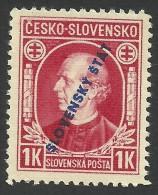 Slovakia, 1 K. 1939, Sc # 25, Mi # 25A, MNH - Slovakia