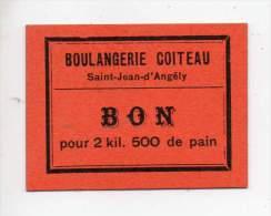 Bon Pour 2,500 Kg De Pain- Boulangerie Coiteau - Saint Jean D'Angély (Charente Inférieure) - Bons & Nécessité