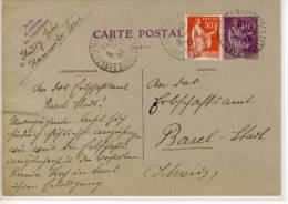 ENTIRE CP 40c + 50c, 1934; SARREGUEMINES Pour Basel, An Das Erbschaftsamt - Postal Stamped Stationery