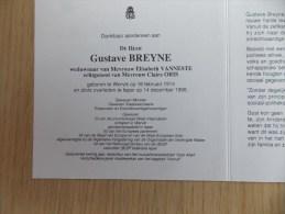 Doodsprentje Gustaaf Breyne Wervik 16/2/1914 Ieper 14/12/1998 ( Elisabeth Vanneste En Claire Oris ) - Religione & Esoterismo